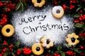Картинка зима, ягоды, еда, Новый Год, печенье, Рождество, красные