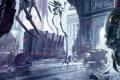 Картинка город, механизм, робот, вагоны, арт, крысы, dishonored