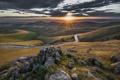 Картинка дорога, природа, камни, рассвет, долина