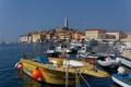 Картинка море, небо, дома, бухта, яхты, лодки, Хорватия