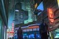 Картинка ночь, город, улица, cyberpunk, прохожие