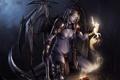 Картинка девушка, жертва, крылья, арт, рога, серп, кулак