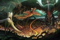 Картинка сказка, феникс, дракон, единорог, мифы, легенда