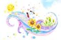 Картинка солнце, бабочки, цветы, улыбки, детские обои, завиток