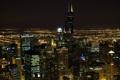 Картинка chicago, ночь, небосребы, чикаго, огни
