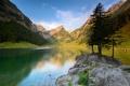 Картинка облака, деревья, горы, небо, озеро, скала