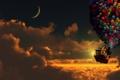 Картинка облака, шарики, дом, луна, вверх, Moon, Pixar