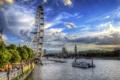 Картинка небо, облака, деревья, парк, река, люди, Лондон