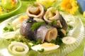 Картинка зелень, яйца, рыбные рулеты
