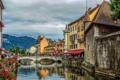Картинка небо, облака, горы, мост, люди, Франция, канал