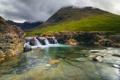 Картинка горы, тучи, ручей, камни, водопад, Шотландия
