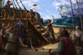 Картинка море, корабль, арт, пираты, выпивка