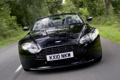 Картинка Aston Martin, фары, Roadster, автомобиль, V8 Vantage, black, передок