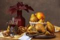 Картинка груши, чай, бублики, цветы