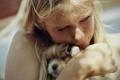 Картинка девушка, фотография, щенок, объятие, Photography