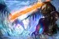Картинка холод, магия, дракон, меч, арт, рога, битва