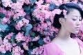 Картинка девушка, цветы, японка