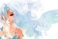 Картинка Девушка, крыло, голубые волосы