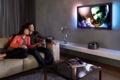 Картинка пульт, плазма, пара, Телевизор, улыбка, столик, кино
