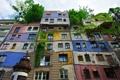 Картинка небо, деревья, цвет, Австрия, Вена, дом Хундертвассера