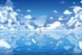 Картинка небо, вода, девушка, облака, отражение, океан, перья
