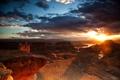 Картинка закат, река, скалы, каньон