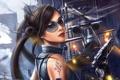 Картинка девушка, город, пистолет, оружие, арт, очки, вертолет