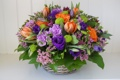 Картинка цветы, корзина, тюльпаны, композиция, анемоны, гвоздики