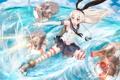 Картинка вода, девушка, оружие, океан, аниме, арт, бант