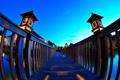 Картинка небо, мост, город, фонари