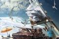 Картинка небо, фатазия, картина, зонт, художник, мольберт, атр