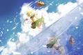 Картинка небо, вода, девушка, облака, отражение, шляпа, арт