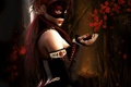 Картинка woman, pose, petals, mask