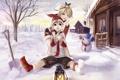 Картинка зима, снег, музыка, праздник, игра, новый год, аниме