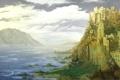 Картинка море, горы, город, скала, замок, арт, Castle Alexandria