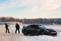 Картинка зима, пейзаж, Nissan GT-R, черный.