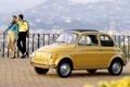 Картинка девушка, горы, желтый, fiat, парень, 500, класика