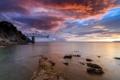 Картинка море, небо, пейзаж, закат, мост