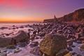 Картинка пляж, камни, океан, рассвет, берег