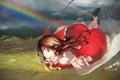 Картинка небо, девушка, облака, полет, радуга, аниме, арт