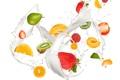Картинка капли, брызги, свежесть, малина, лимон, всплеск, киви