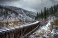 Картинка снег, пейзаж, горы, железная дорога