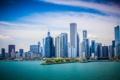Картинка небо, вода, город, река, небоскребы, Чикаго, панорама