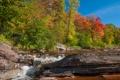 Картинка лес, осень, скалы, деревья, небо, река