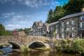 Картинка река, небо, Уэльс, городок, wales, деревья, дома