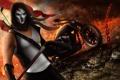 Картинка огонь, маска, цепь, мотоцикл, байкер, байк, парень