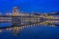 Картинка мост, огни, река, дома, вечер, опора, Венгрия