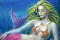 Картинка море, вода, девушка, рыбки, лицо, фантастика, волосы