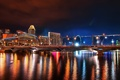Картинка вода, мост, город, отражение, ночной, сингапур