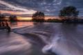 Картинка облака, закат, река, поток